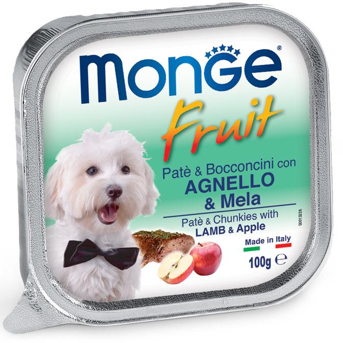 MONGE FRUIT PATE' E BOCCONCINI CON AGNELLO E MELA PER CANE 100GR