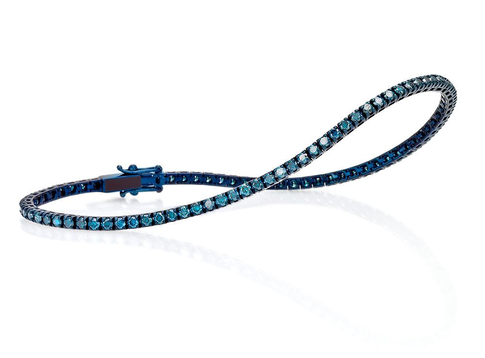 Bracciale Tennis Crieri in Oro rodiato Blu e Diamanti taglio Brillante Blu Color