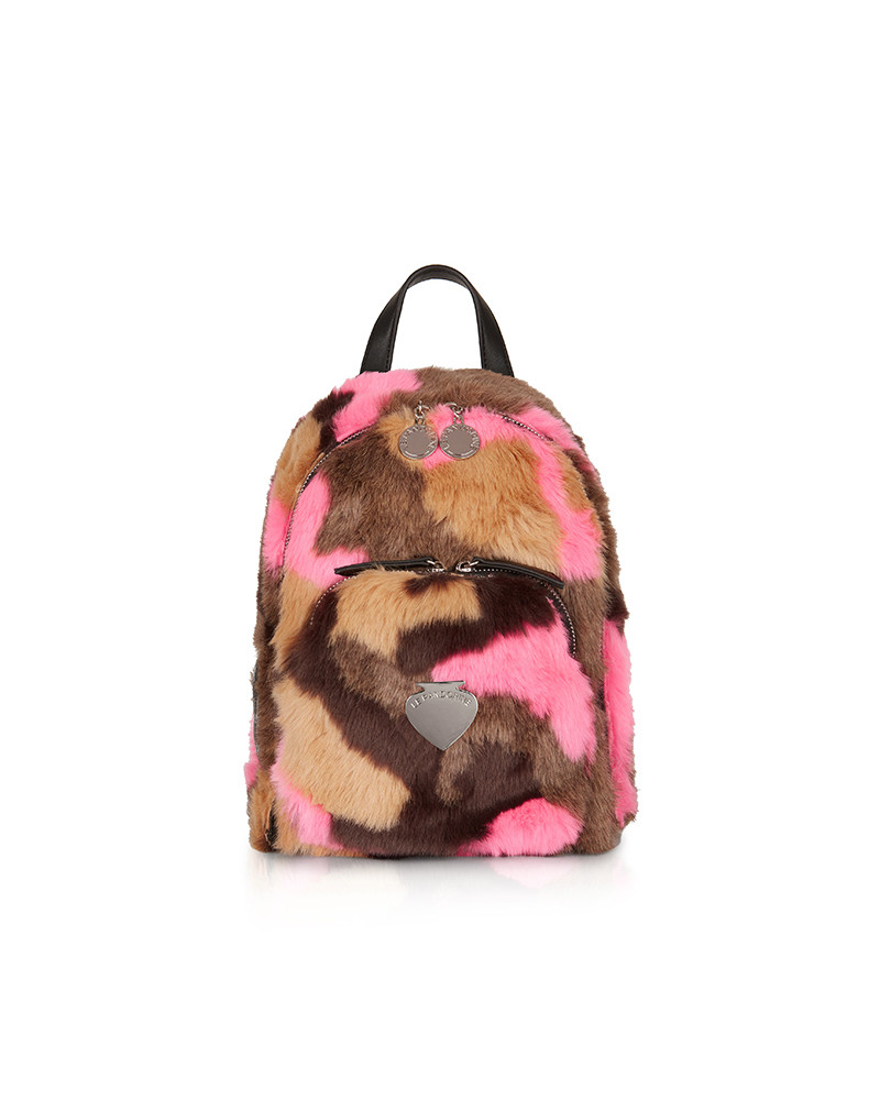 SHOPPING ON LINE LE PANDORINE MINI BACKPACK FREDDO FUR CAMOUFLAGE COLLECTION WOMEN'S FALL/WINTER 2022
