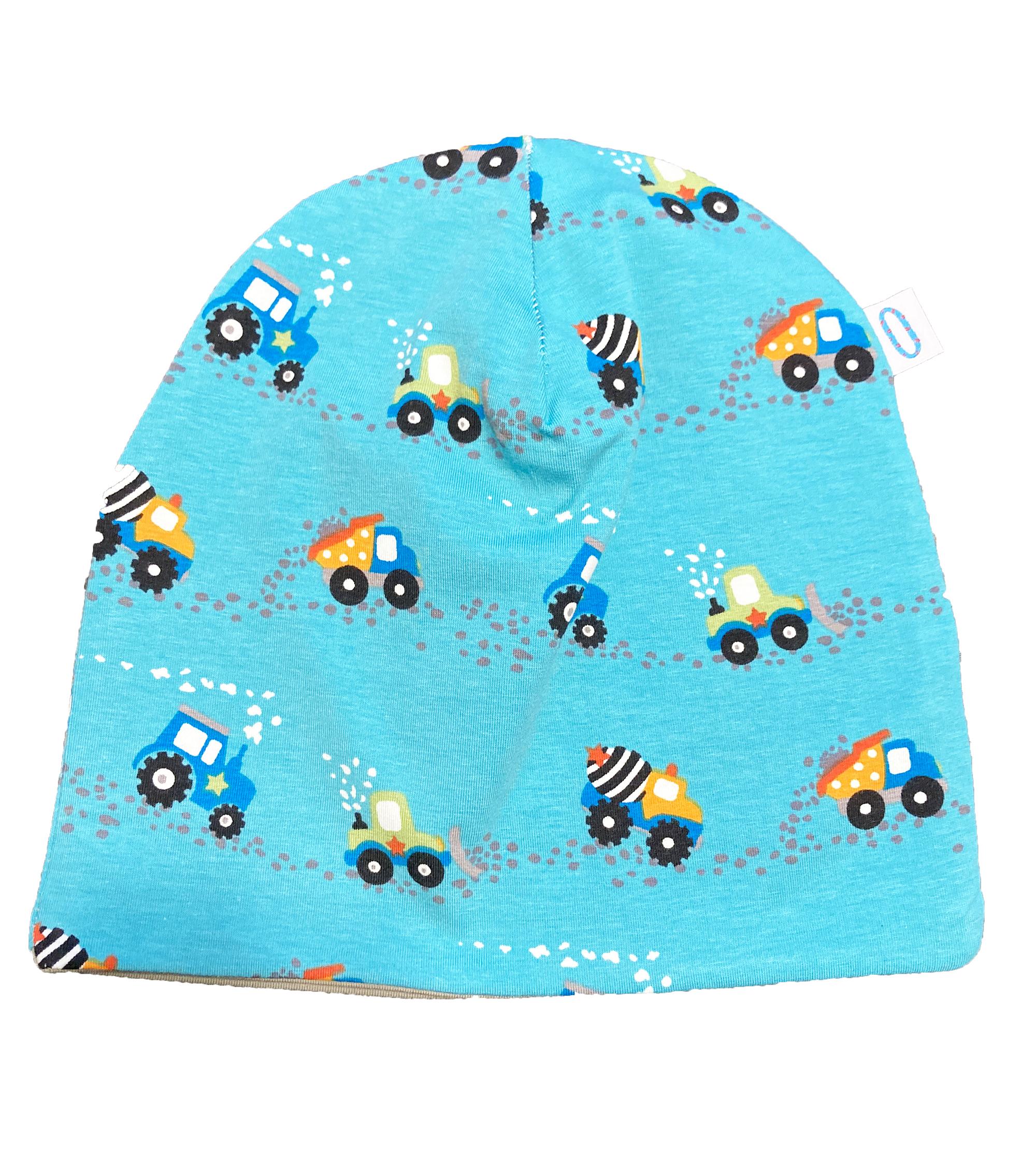 Trattori azzurri - cuffia double face in cotone