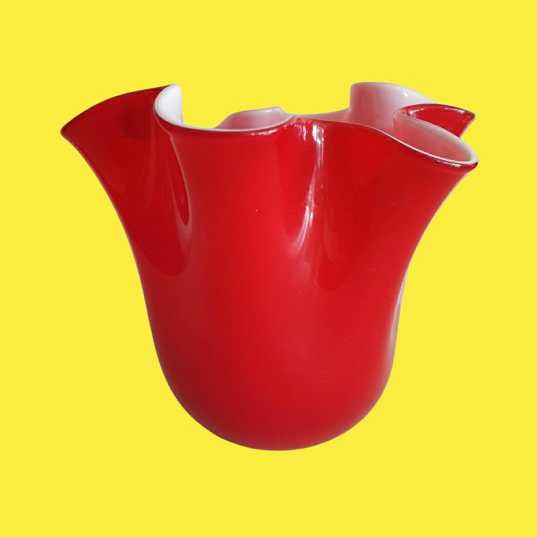 Vaso vetro fazzoletto rosso medio