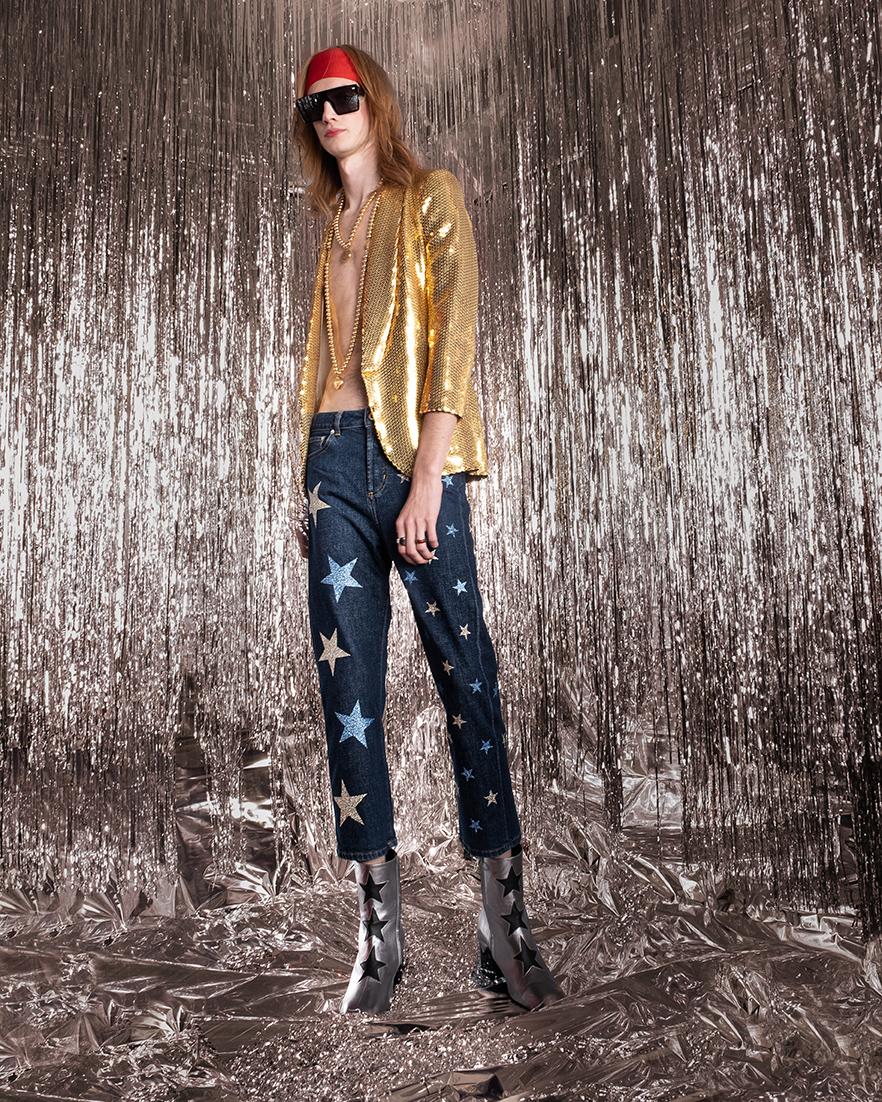 Jeans blue denim loose con stelle azzurro e argento Rossano Perini