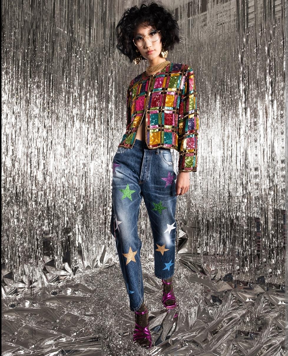 Jeans blue denim con stelle multicolore Rossano Perini