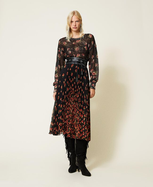 SHOPPING ON LINE TWINSET MILANO GONNA IN CREPONNE STAMPATO A FIORI NEW COLLECTION PREVIEW FALL WINTER 2022