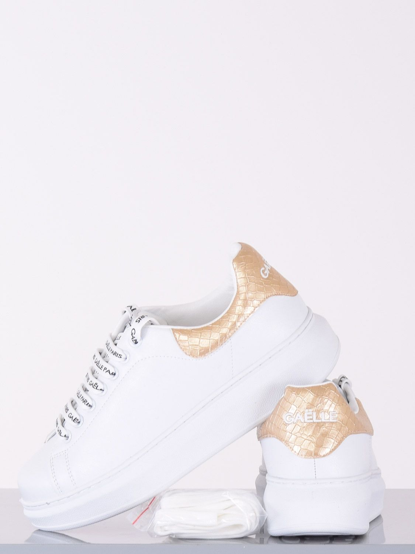 Sneaker tallone lamina bianco gold