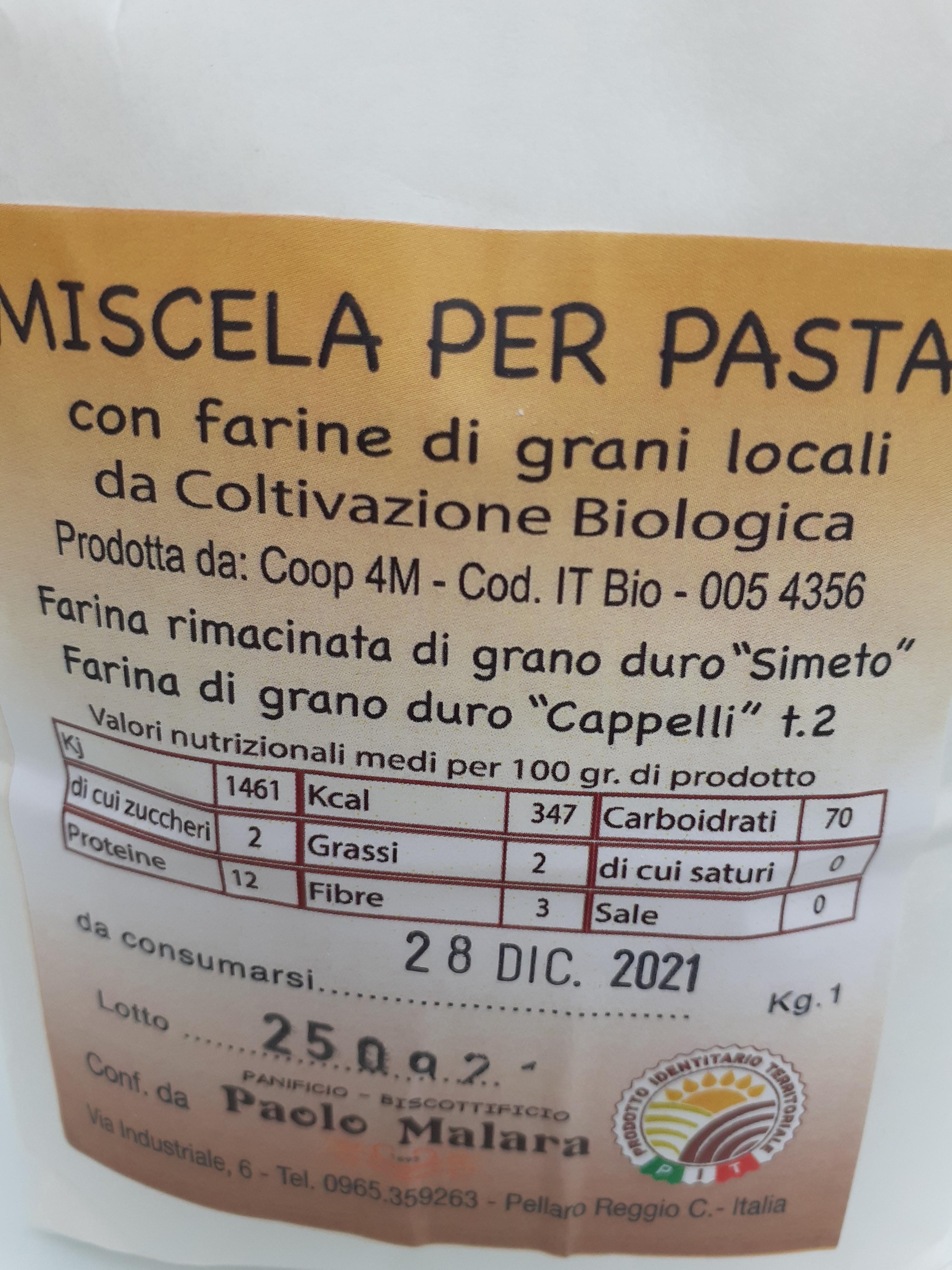Miscela per Pasta con farine Bio di Farina rimacinata di grano duro