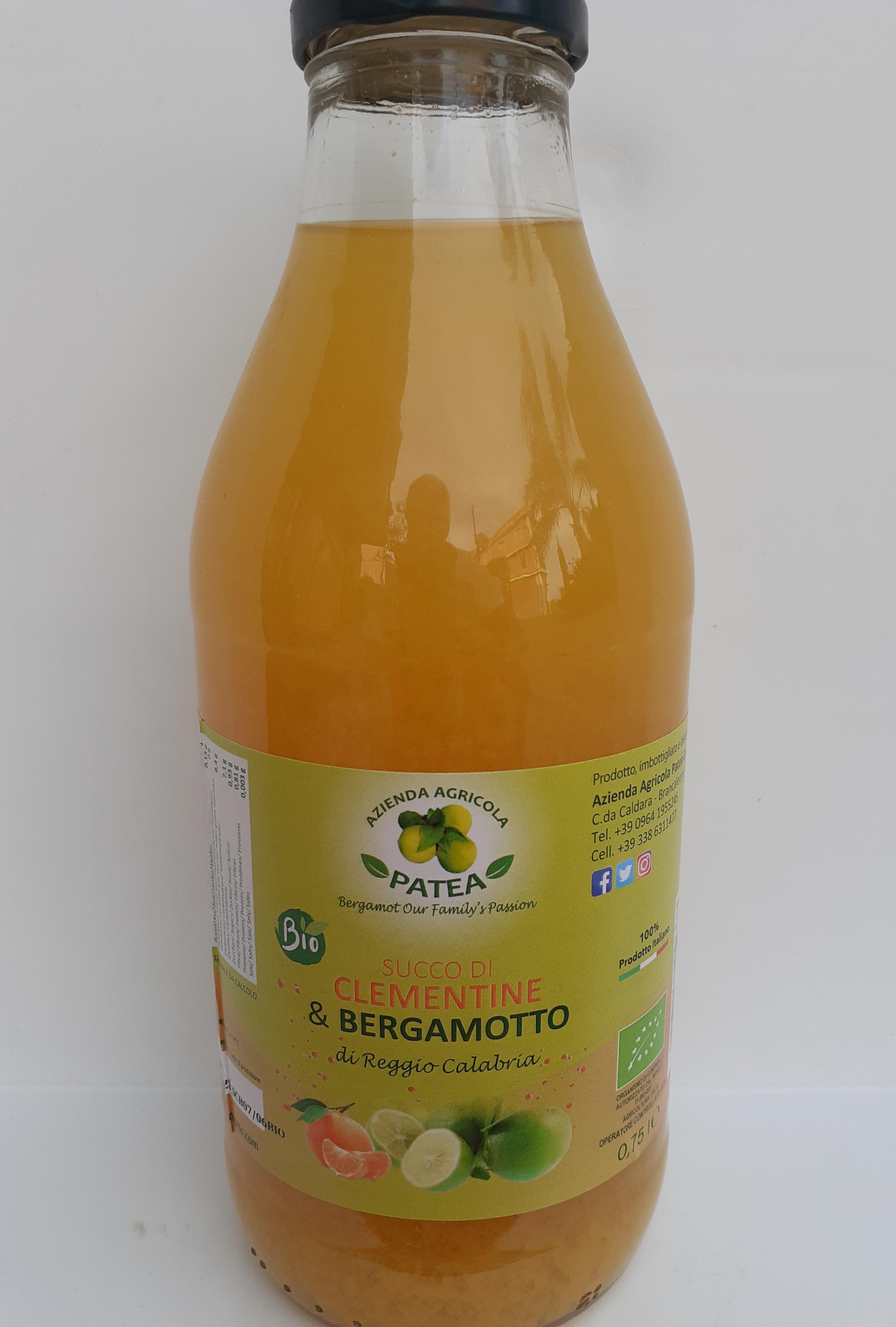 Succo bio di Clementine e Bergamotto di Reggio Calabria 0,75cl . Az. Agr. Patea di Brancaleone (RC)