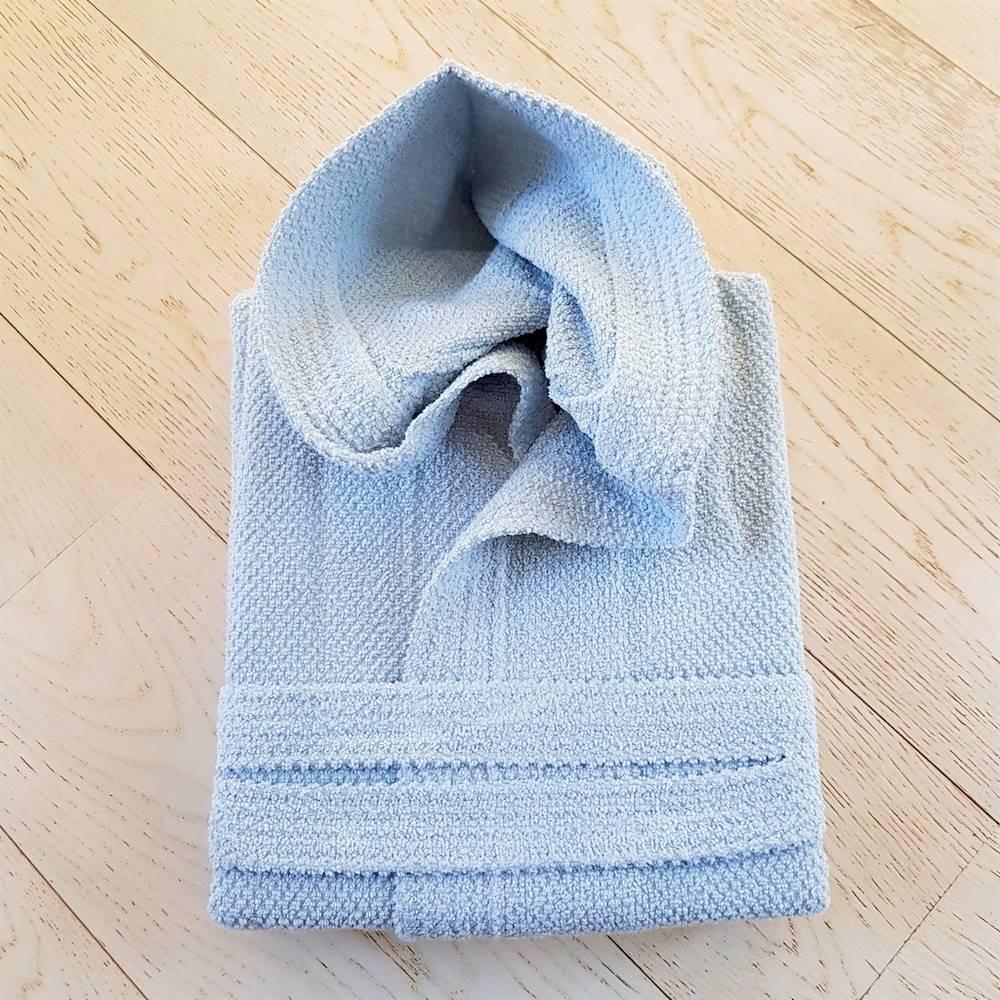 Accappatoio con cappuccio chicco di riso azzurro Personalizzato
