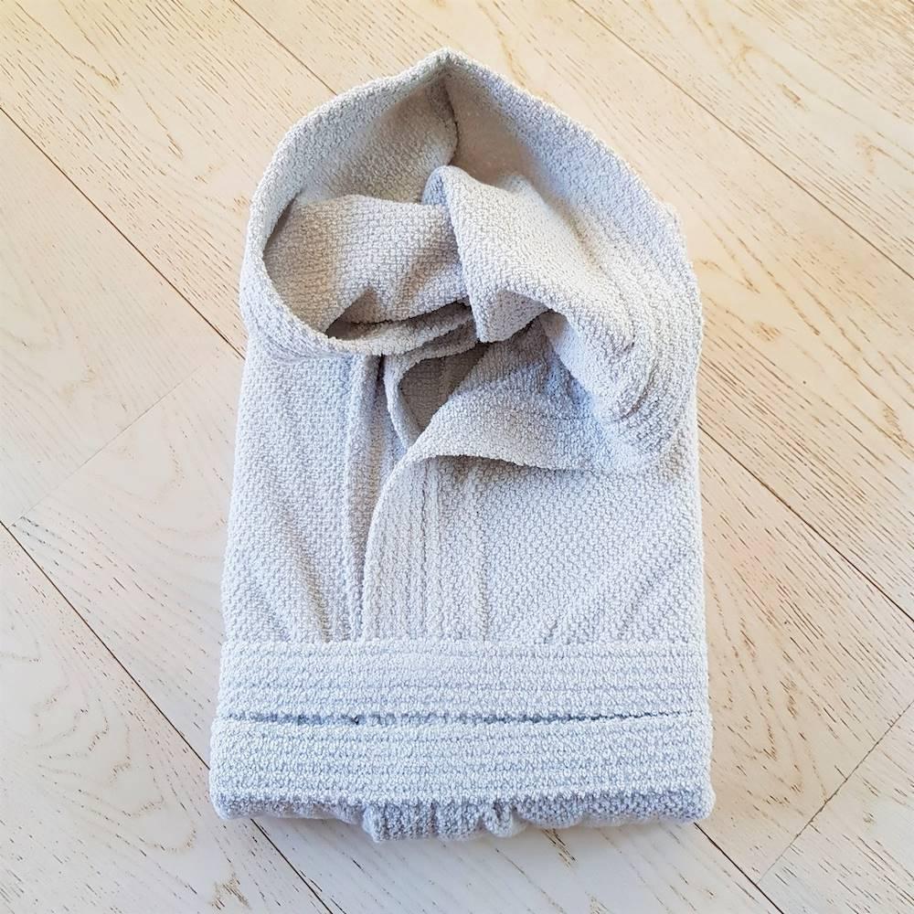 Accappatoio con cappuccio chicco di riso grigio Personalizzato