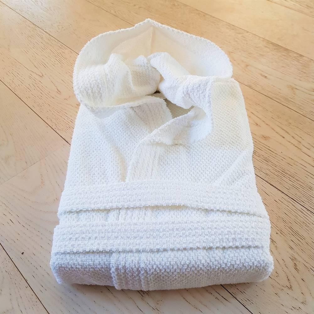 Accappatoio con cappuccio chicco di riso bianco Personalizzato