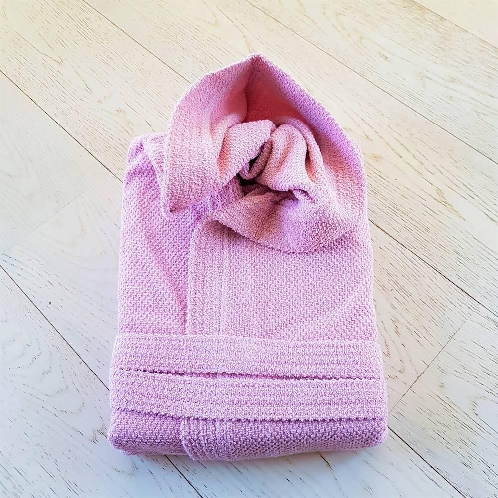 Accappatoio con cappuccio chicco di riso rosa Personalizzato