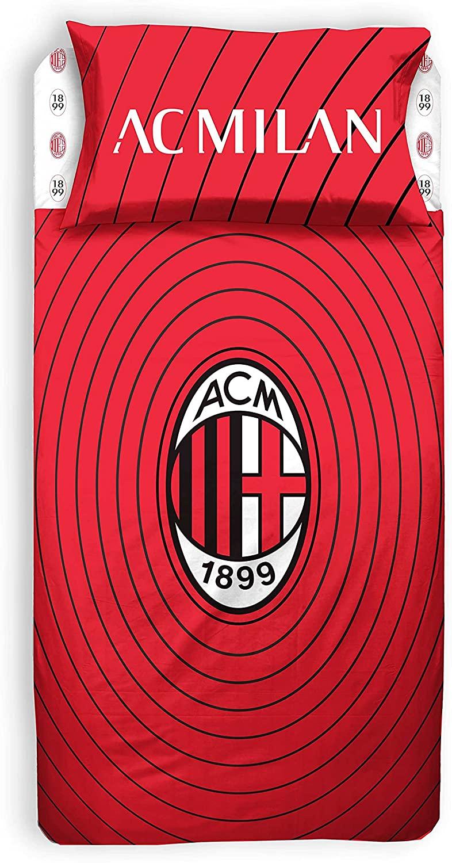 A.C. Milan Completo Lenzuolo 1 Piazza E Mezza, 100% Cotone, Rosso Nero