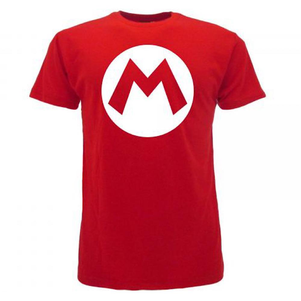 Super Mario maglietta manica corta logo Mario dalla taglia XS alla XXL