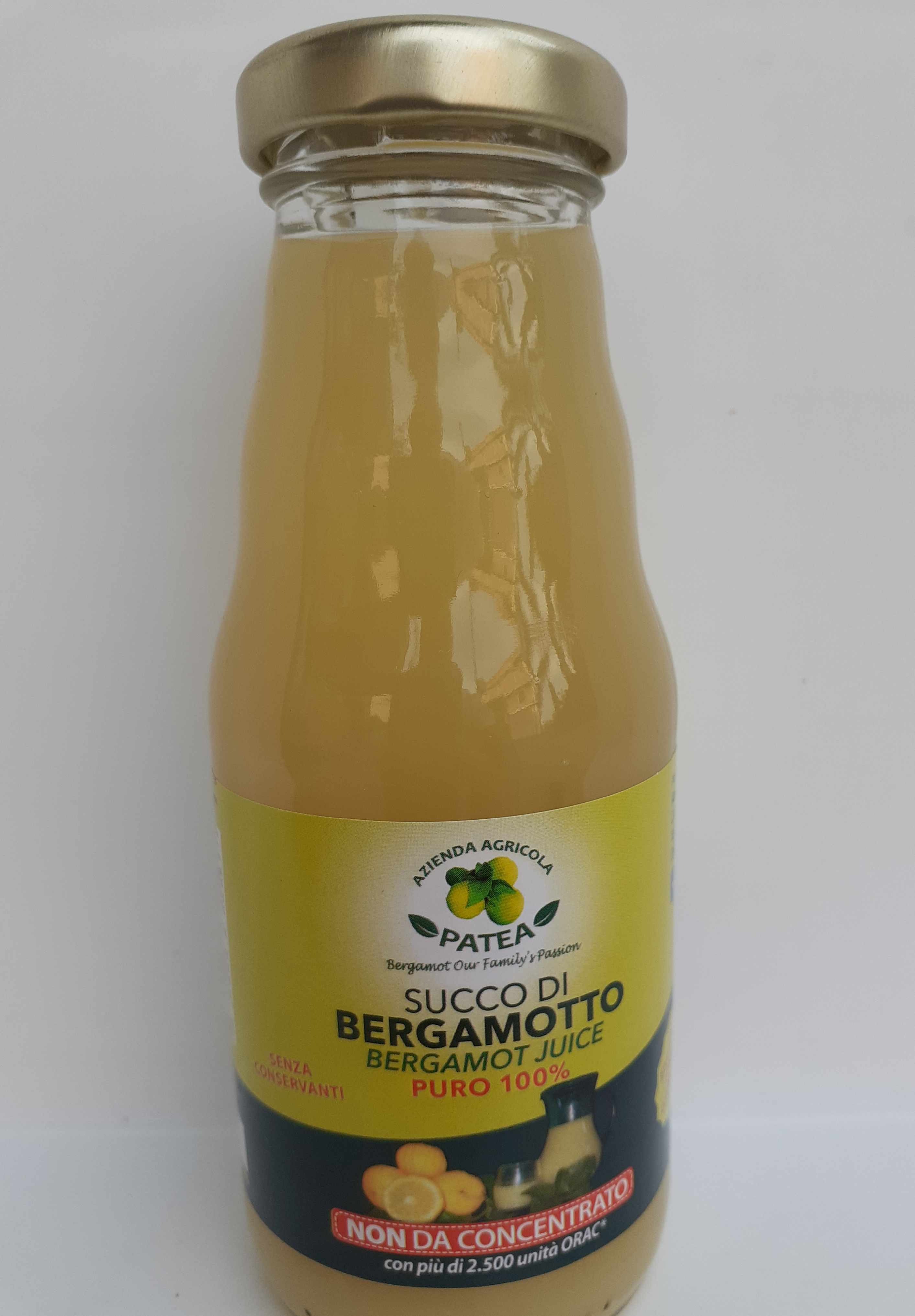 Succo di Bergamotto di Reggio Calabria 0,20 cl Puro 100%  senza conservanti non da concentrato con piu' di 2500 unita' orac