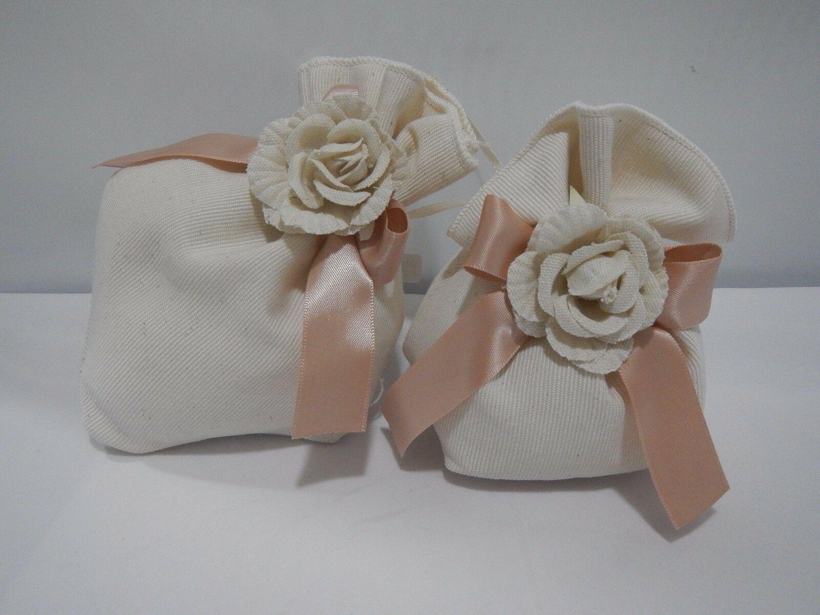 Kit 5 pz Bomboniera Sacchetti con rosa Cuorematto D5157 D5156 D5159 D5158 D5161
