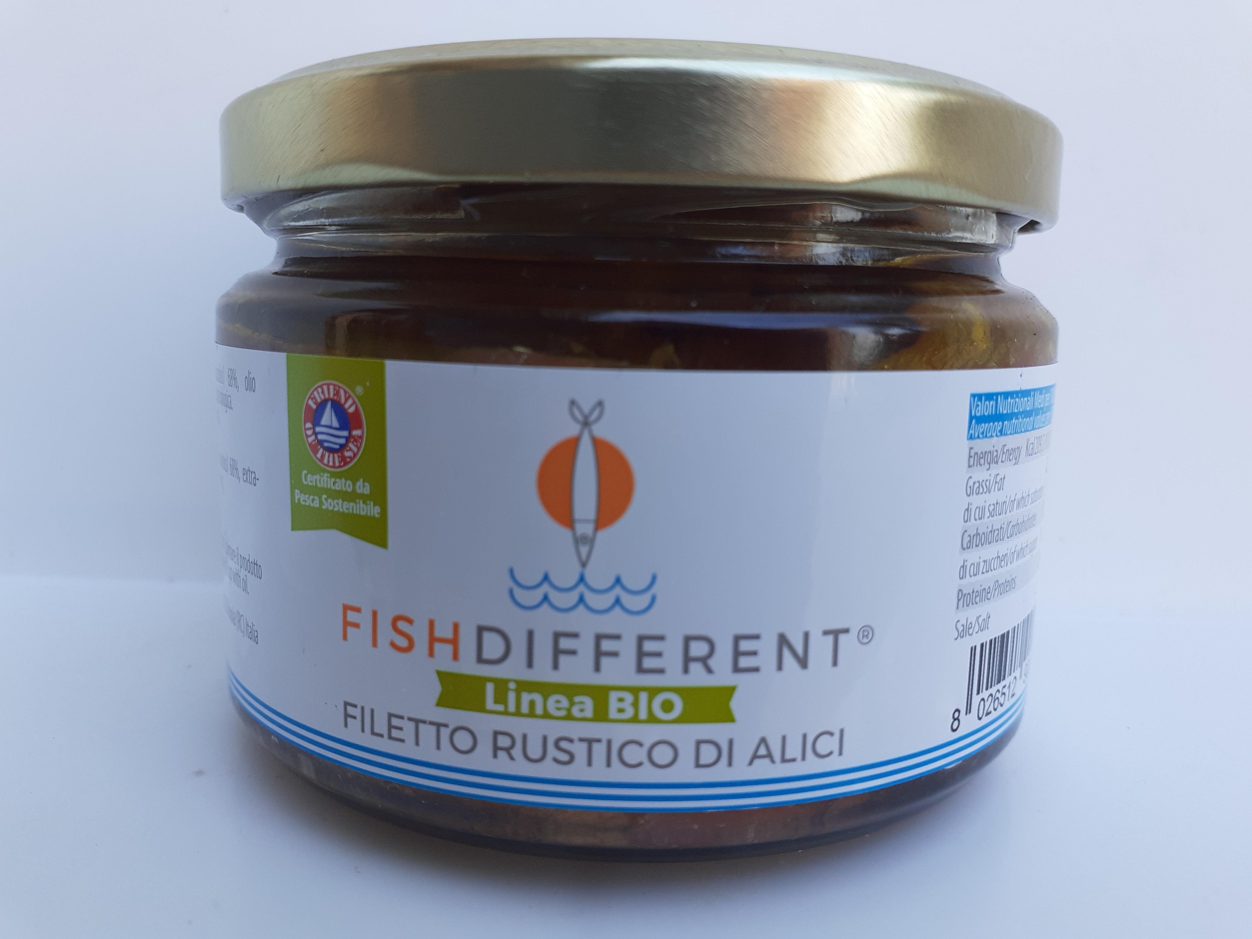 Filetto rustico di Alici  BIO. fatto con alici, olio extravergine di oliva e sale. Ditta CALABRIAITTICA Anoia (RC)