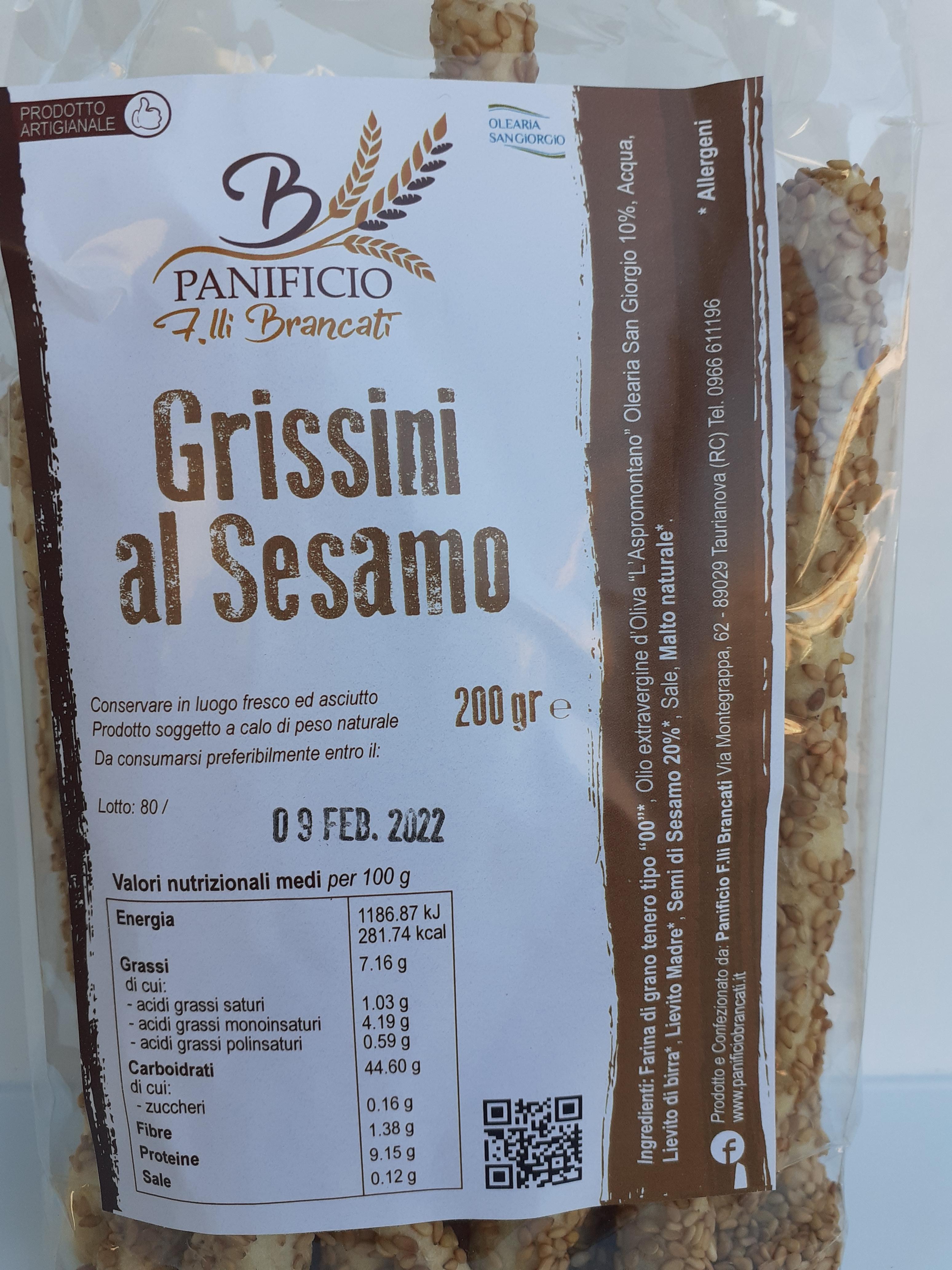 Grissini al Sesamo 200g. Panificio F.lli Brancati Taurianova (RC)