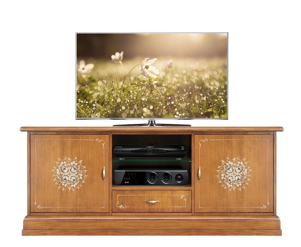 Meuble TV largeur 150 cm décoré - Collection Fleur
