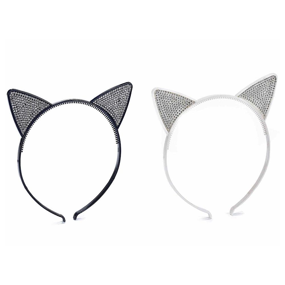 Cerchietto orecchie di gatto con strass