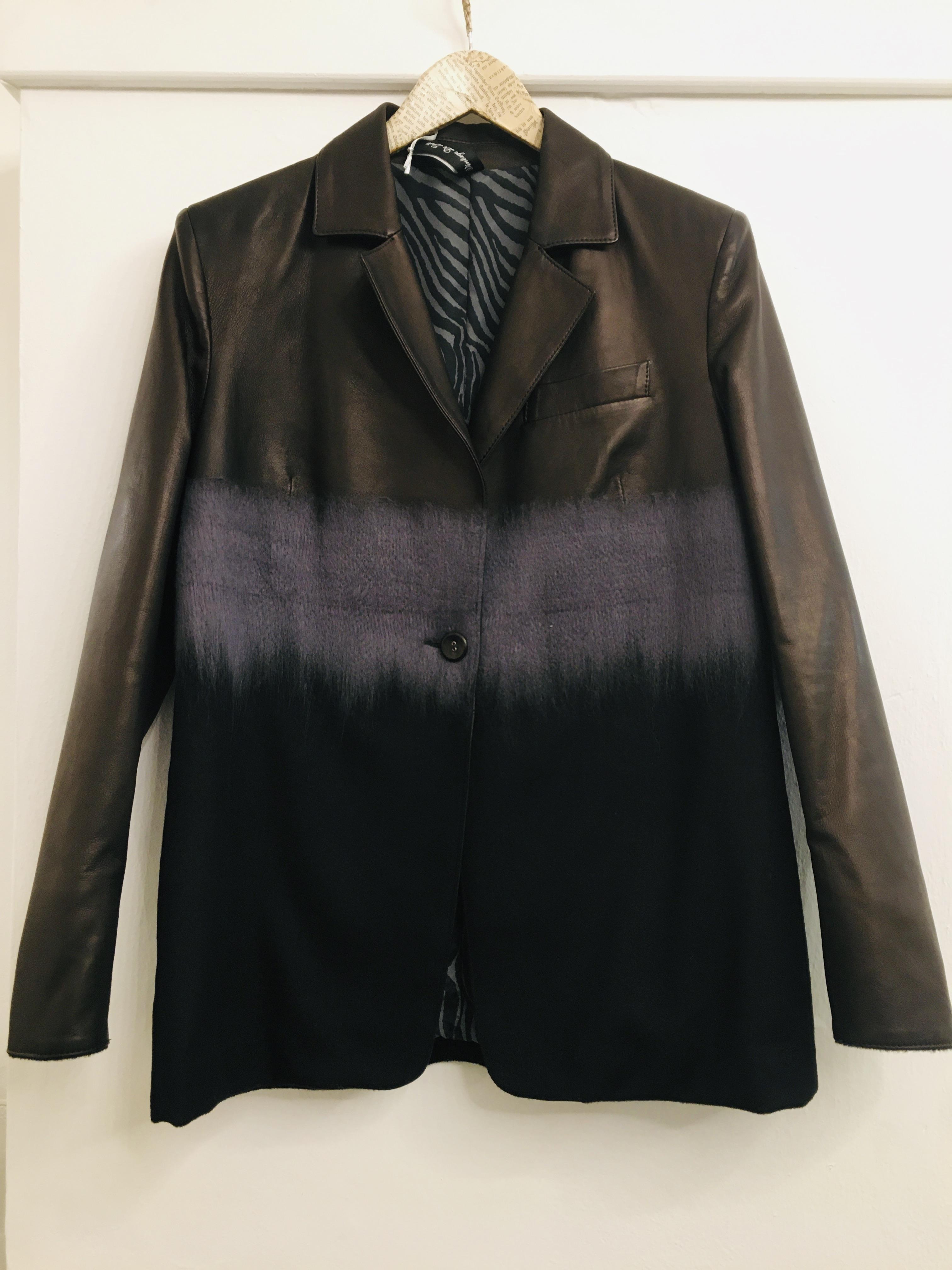 Blazer donna| in pelle e lana sfumata| chiusura con bottoni| con taschino frontale| made in italy