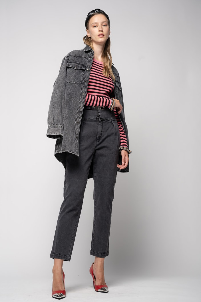SHOPPING ON LINE PINKO JEANS BUSTIER IN DENIM COMFORT BLACK ARIEL16  NEW COLLECTION WOMEN'S FALL/WINTER 2022-2