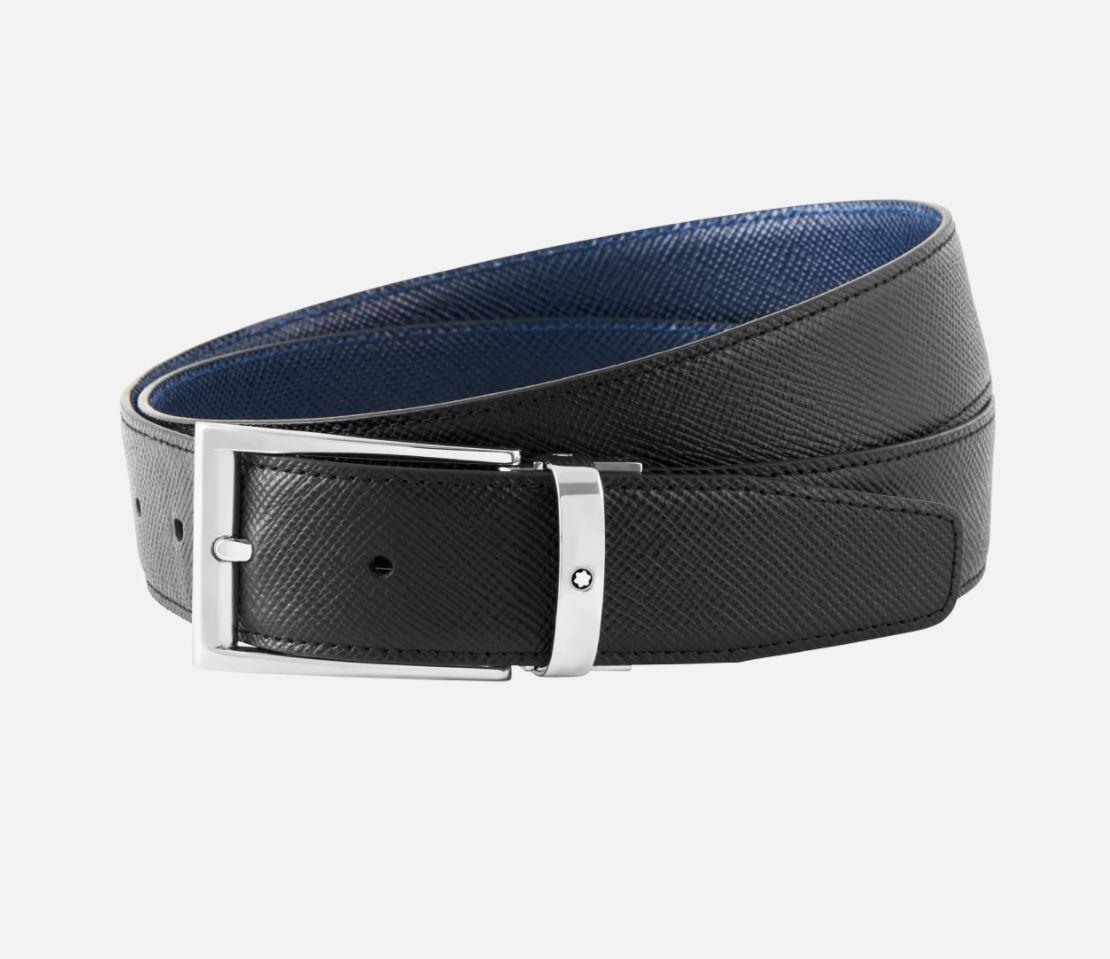 Cintura Montblanc Sartorial in pelle Saffiano nera/blu 35 mm