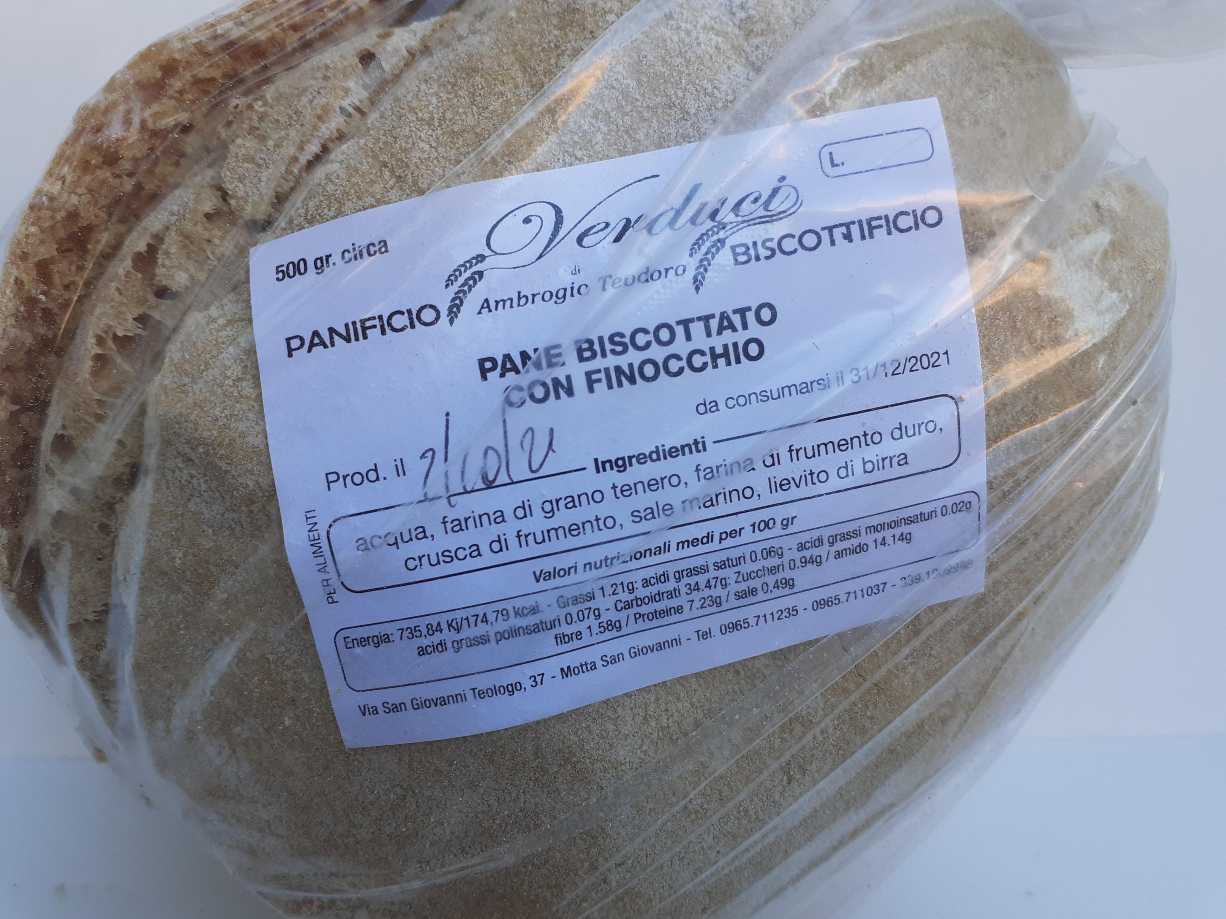 Fresa Biscottata con Finocchio 500g. Panificio e Biscottificio VERDUCI di Ambrogio Teodoro Motta San Giovanni (RC).