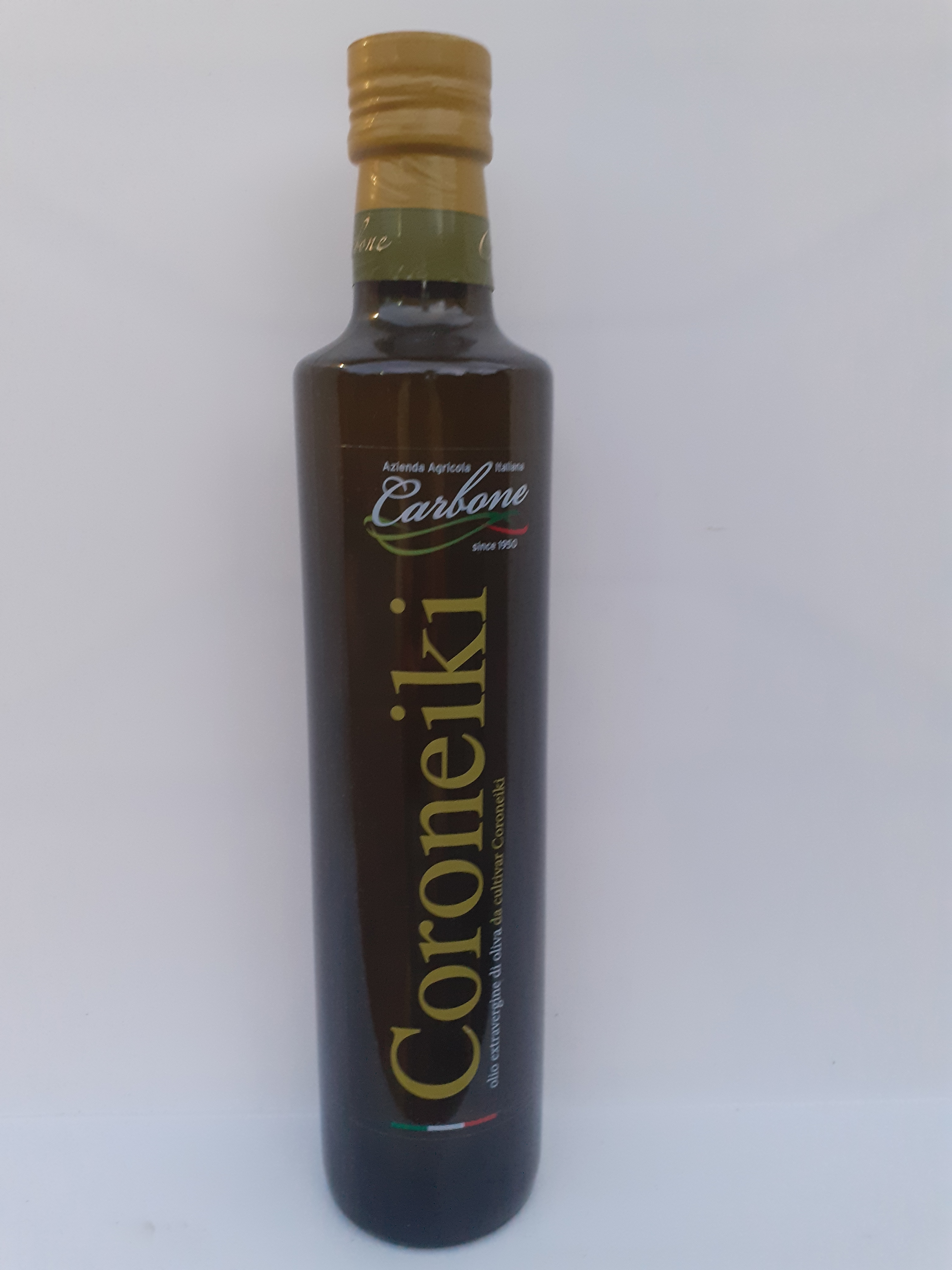 Olio Extravergine di Oliva Coroneiki 0.75. Azienda Agricola Carbone laureana di Borrello (RC).