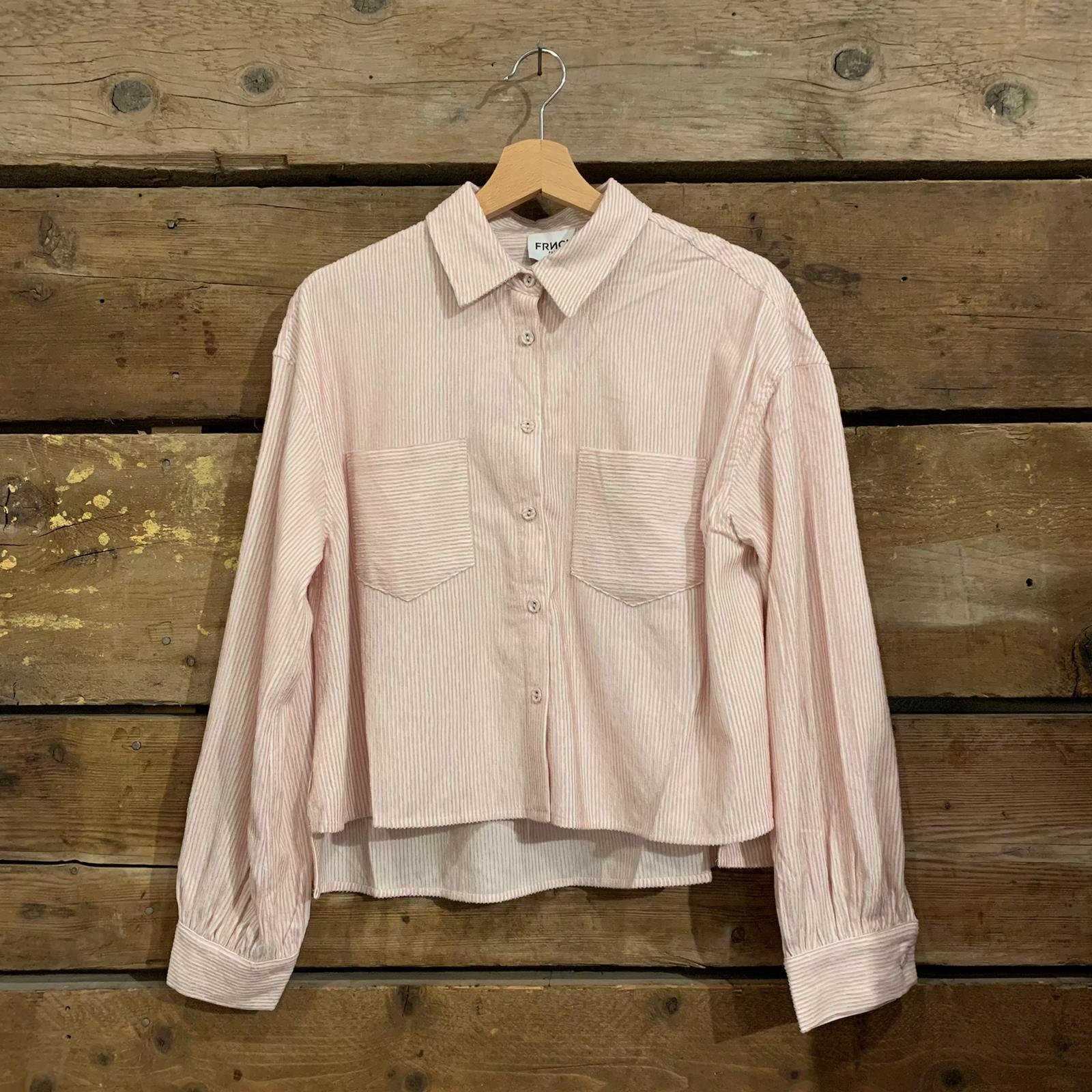 Camicia Frnch Califa in Velluto a Costine Rosa Pastello