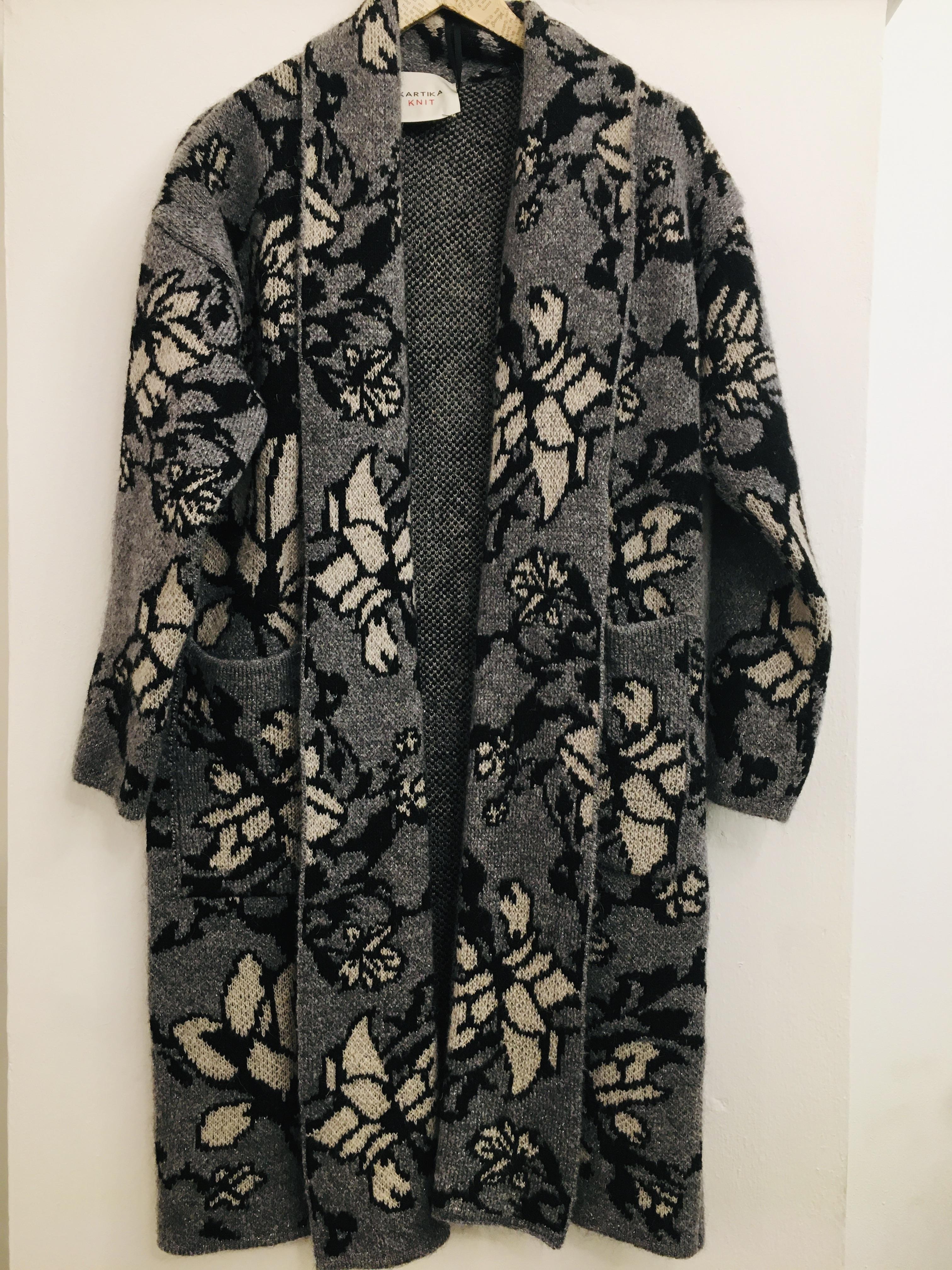 Cardigan donna| cardigan lungo| in lana| motivo floreale| manica lunga| made in Italy