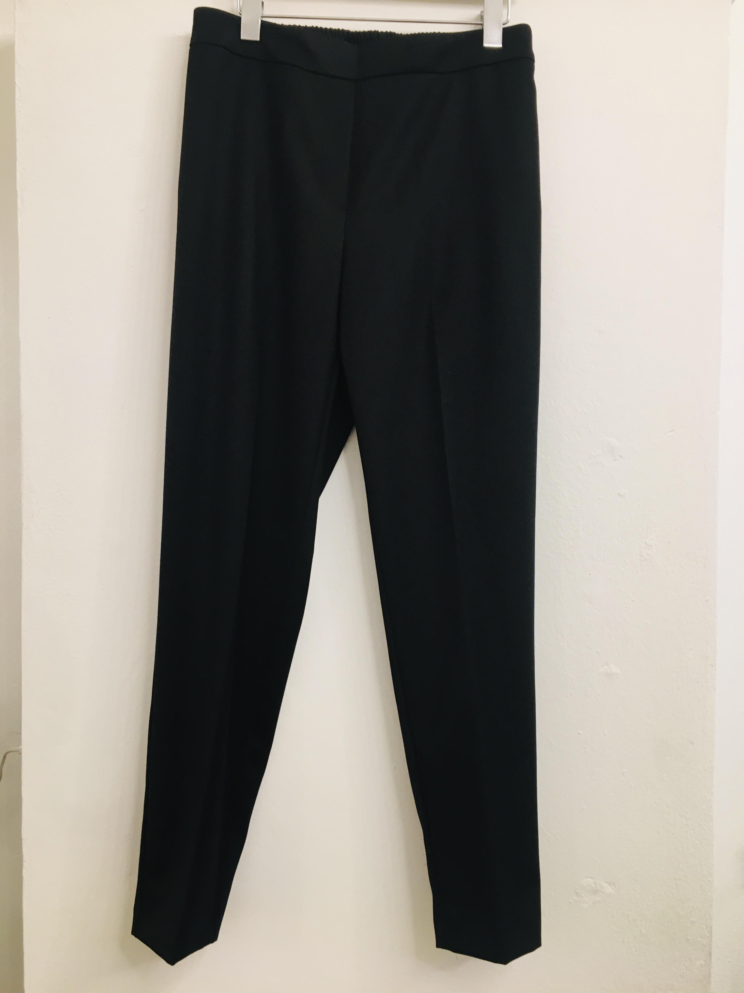 Pantalone donna  a sigaretta  nero  in flanella  con elastico in vita  made in Italy