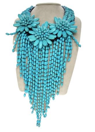 Girocollo con perle in pasta di turchese di Damiana Fiorentini.