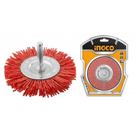 Spazzola Circolare con Filo Ondulato Nylon Diametro 100mm INGCO