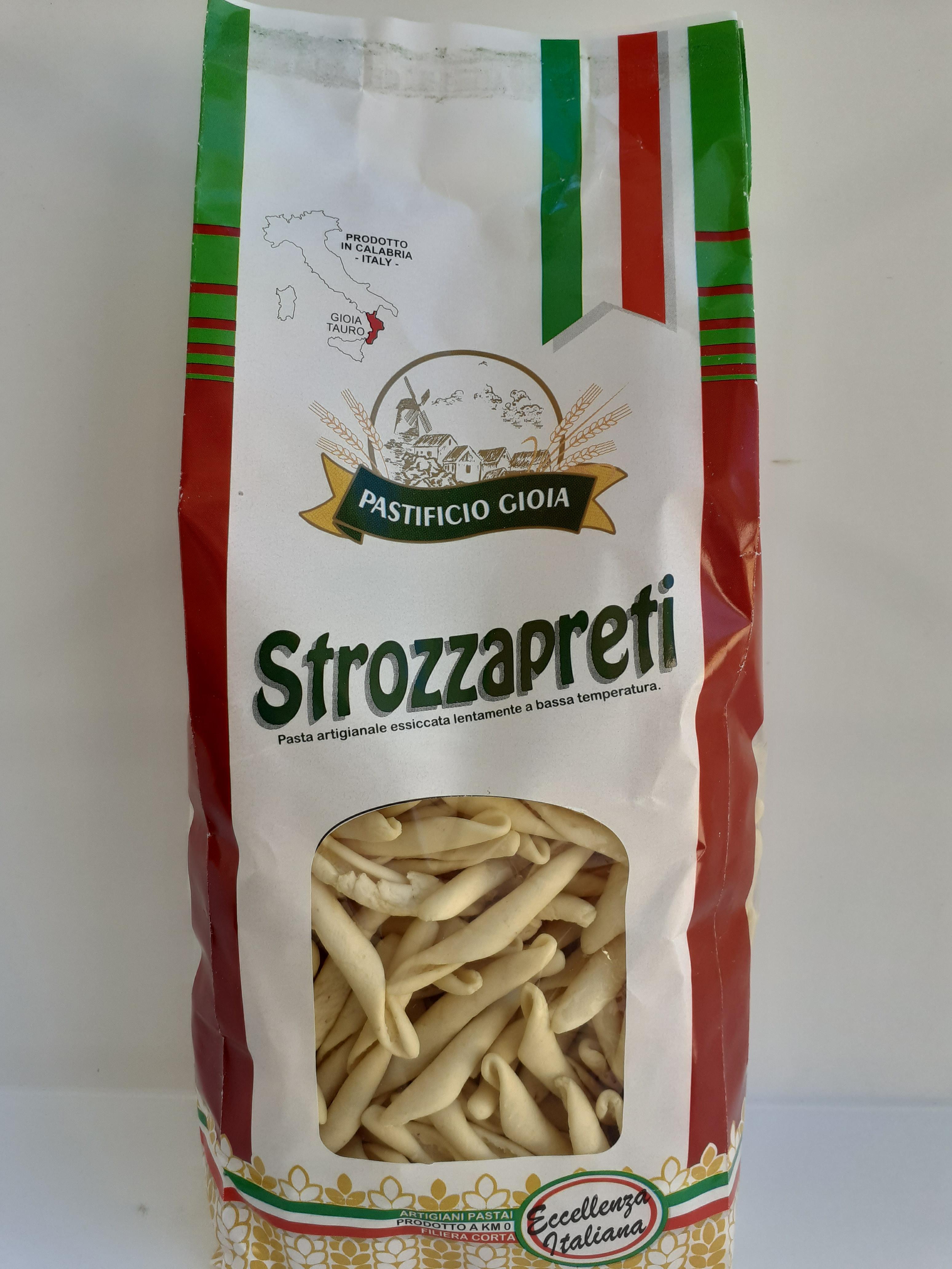 Strozzapreti 500g. Pasta Artigianale essiccata lentamente a bassa temperatura del Pastificio Gioia Gioia Tauro (RC)