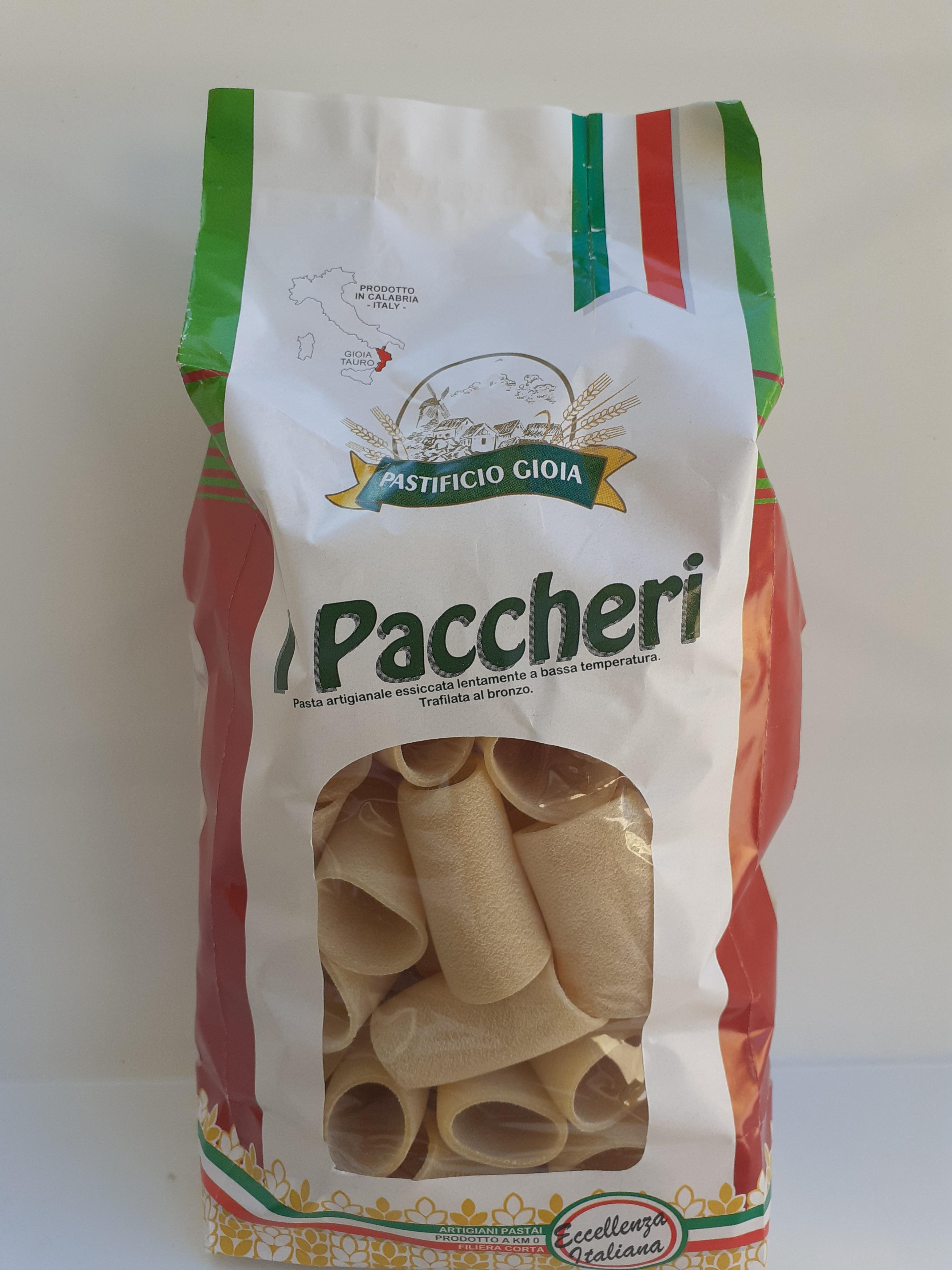 I Paccheri 500g. Pasta Artigianale essiccata lentamente a bassa temperatura del Pastificio Gioia Gioia Tauro (RC)