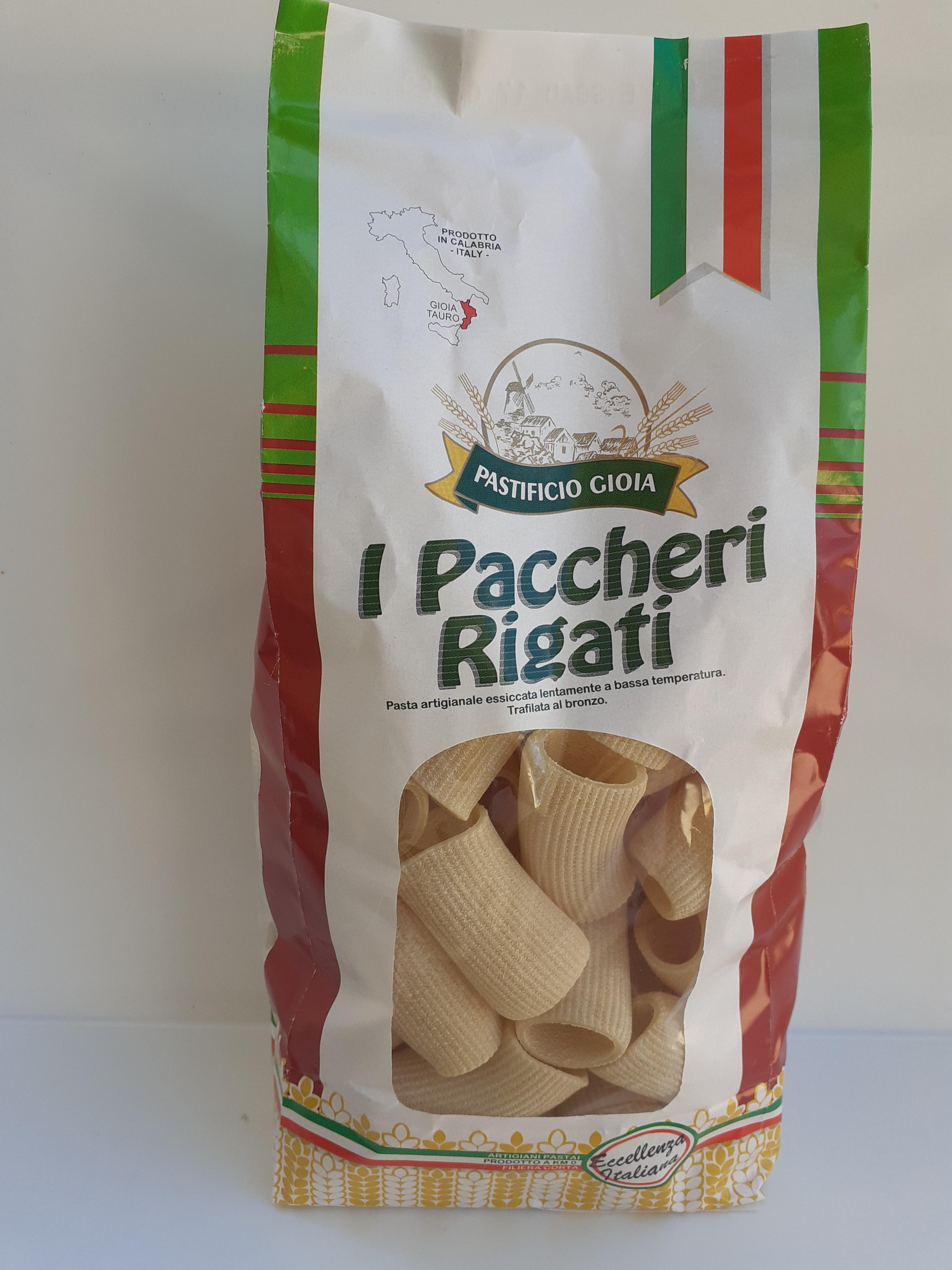I Paccheri Rigati 500g. Pasta Artigianale essiccata lentamente a bassa temperatura del Pastificio Gioia Gioia Tauro (RC)