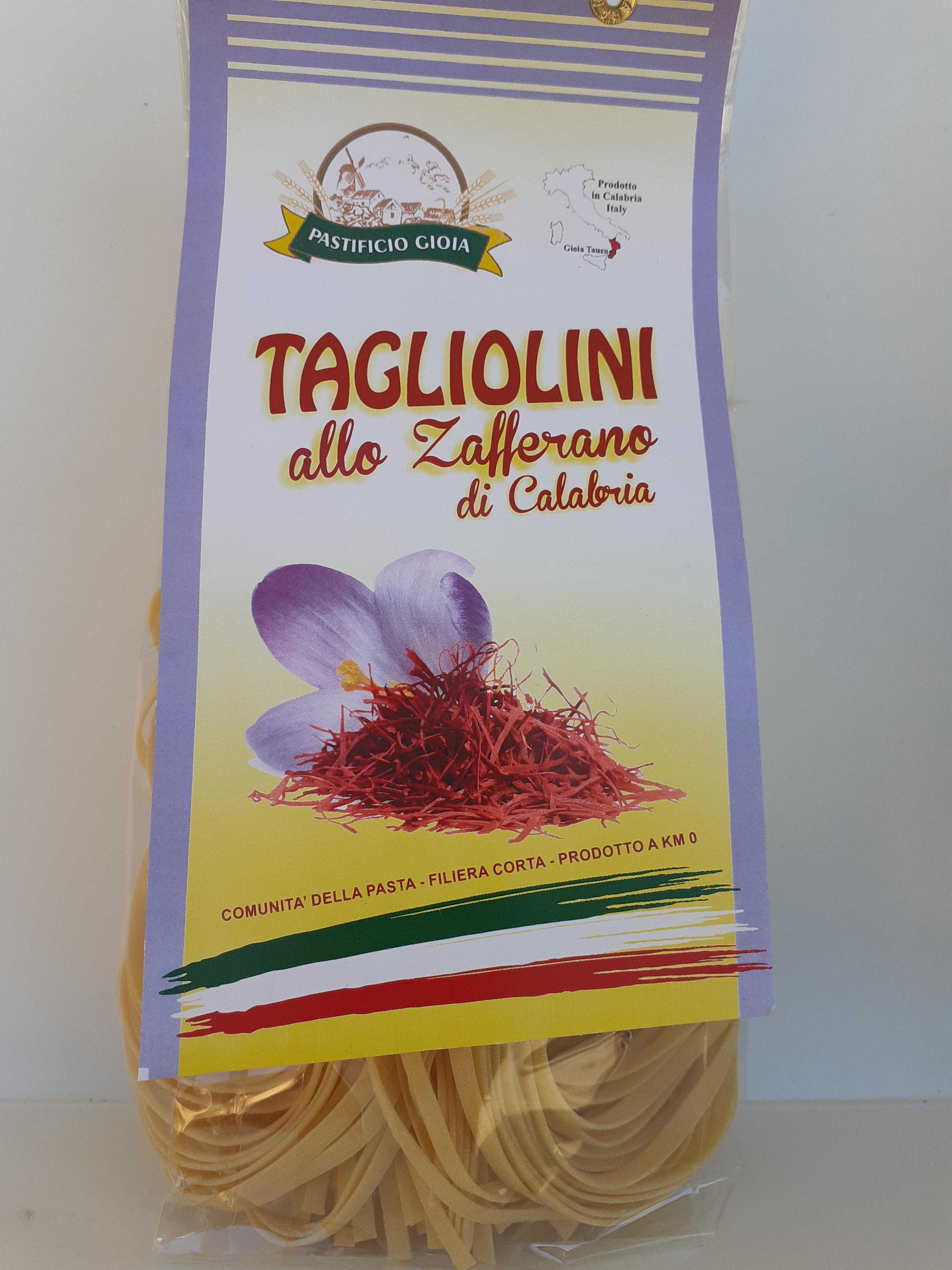 Tagliolini allo Zafferano di Calabria 500g. Pasta Artigianale essiccata lentamente a bassa temperatura del Pastificio Gioia Gioia Tauro (RC)