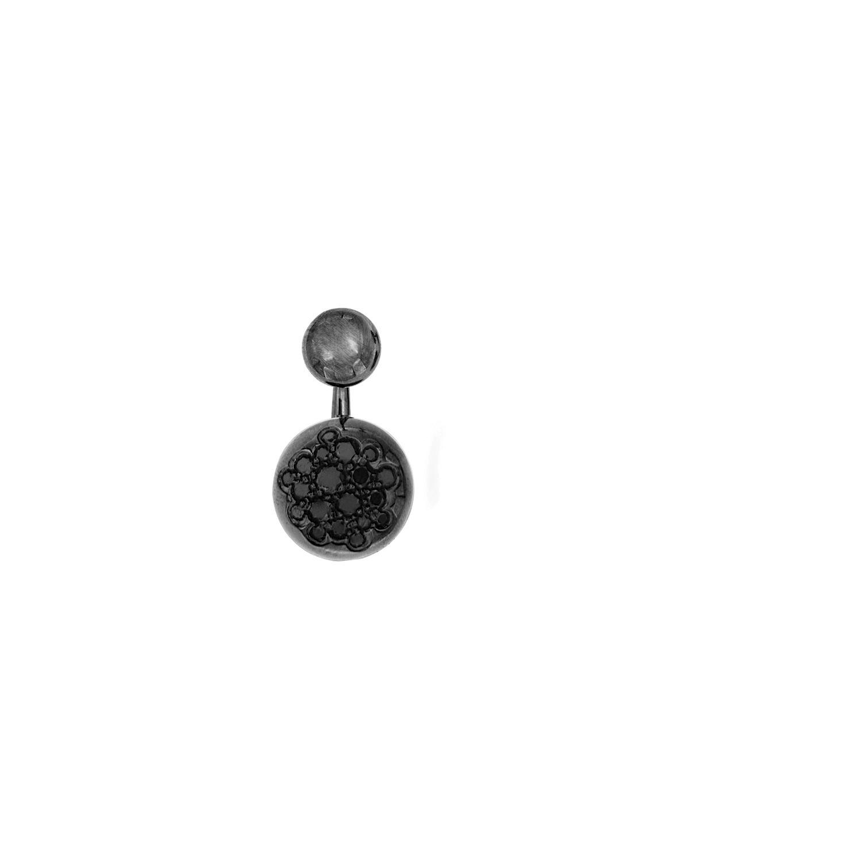 Orecchino singolo in oro nero 18k e diamanti neri