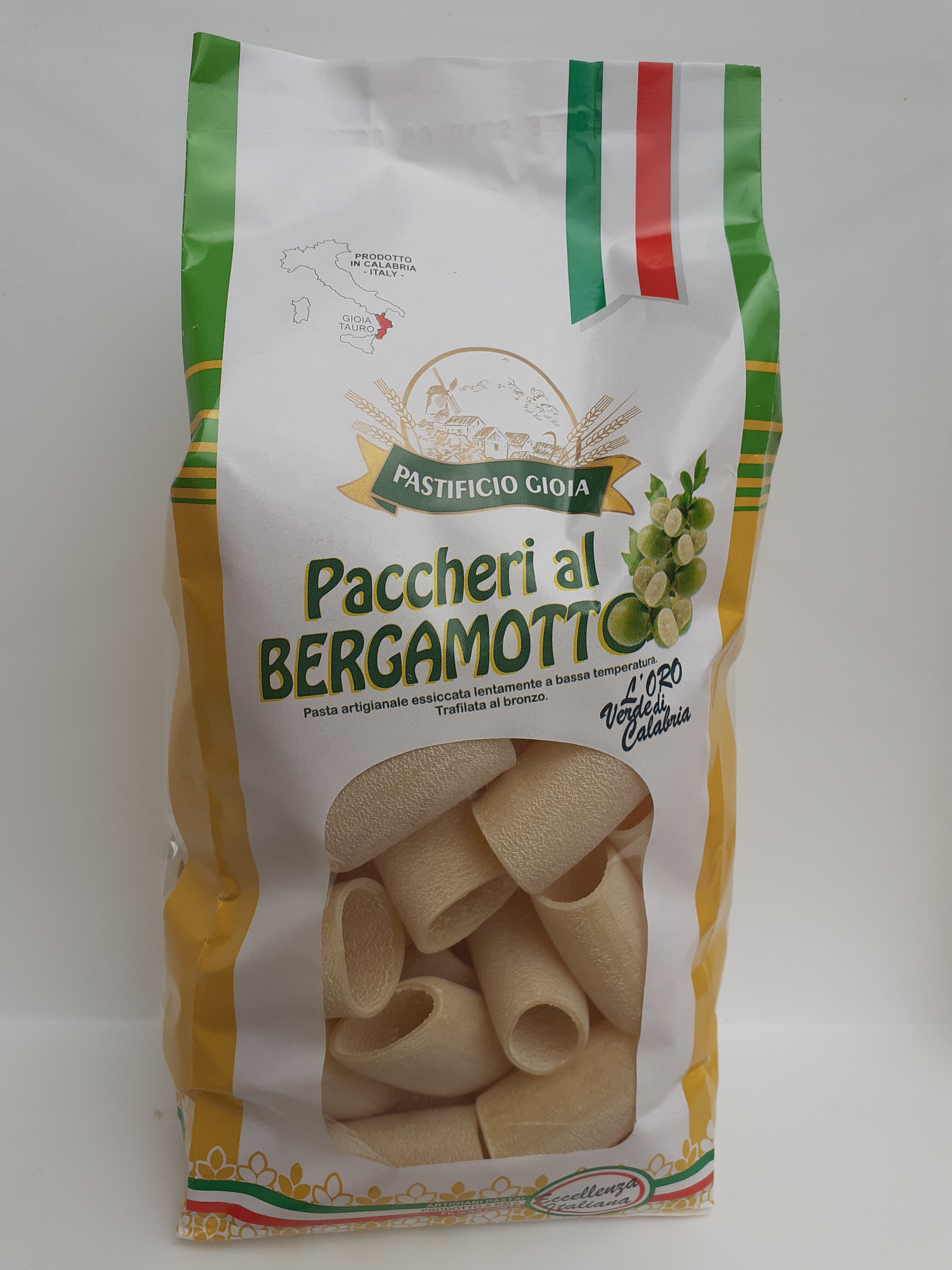 Paccheri al Bergamotto 500g. Pasta Artigianale essiccata lentamente a bassa temperatura trafilata nel Bronzo del Pastificio Gioia Gioia Tauro (RC)