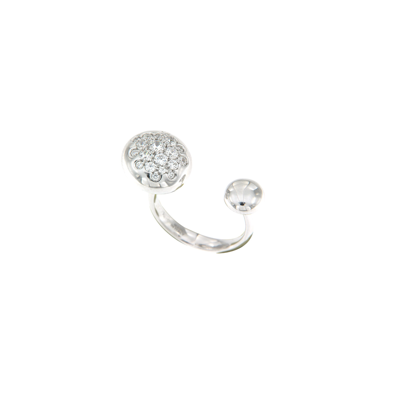 Anello in oro bianco 18k con boule grande in diamanti