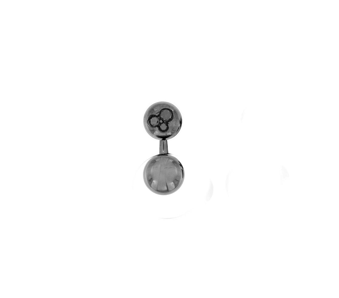 Orecchino singolo mini boule in oro nero 18k e diamanti neri
