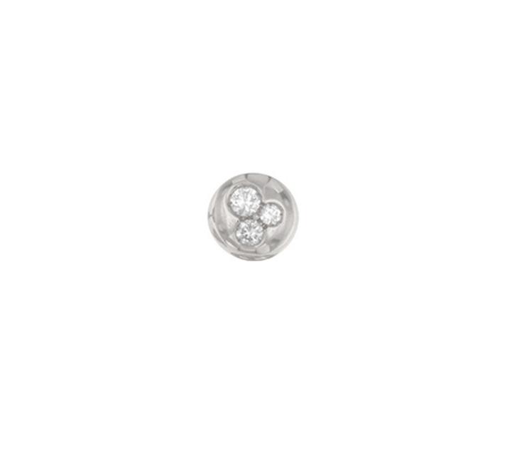 Orecchino singolo mini boule lobo in oro bianco 18k e diamanti