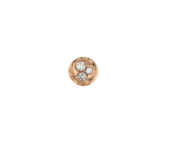 Orecchino singolo mini boule lobo in oro rosa 18k e diamanti brown