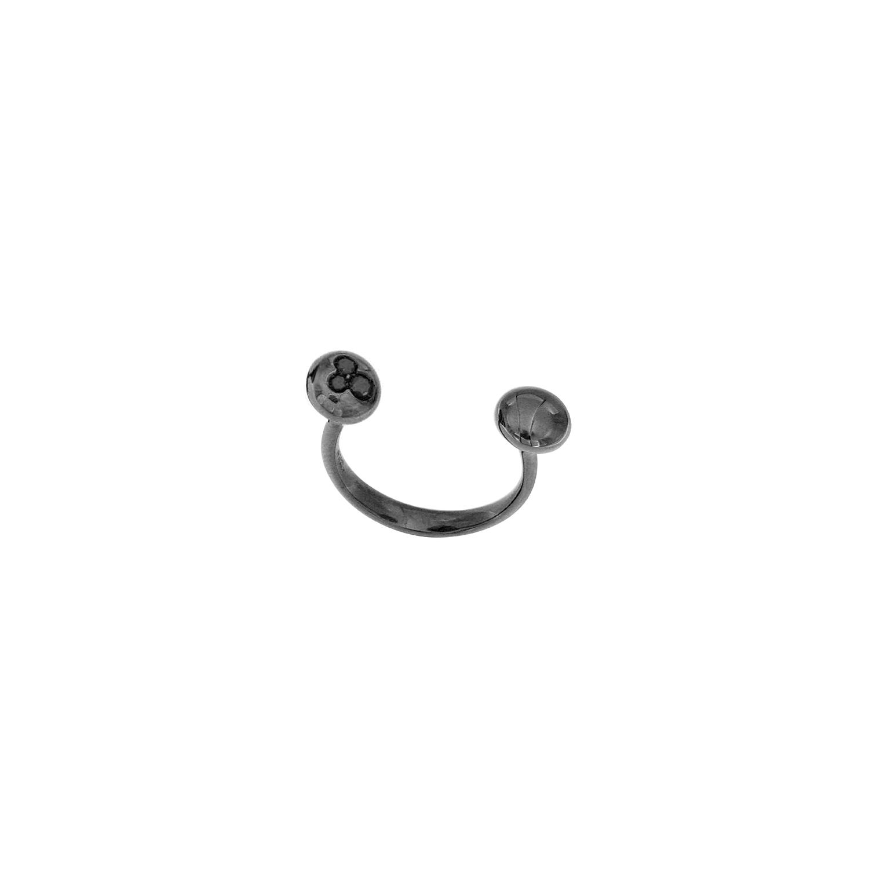 Anello Mini Boule in oro nero 18k e diamanti neri