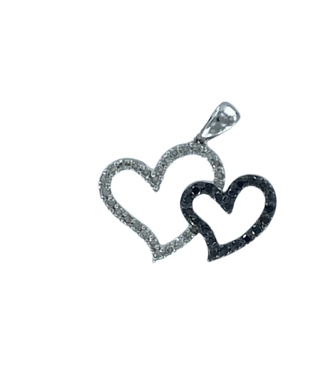 Ciondolo in oro bianco 18kt con diamanti bianchi e neri a forma di doppio cuore