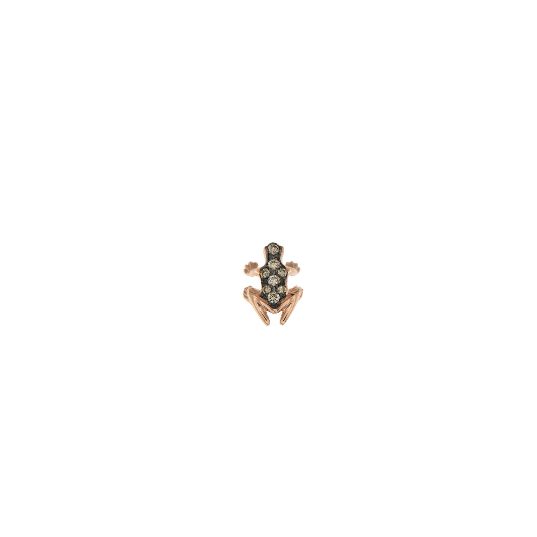 Orecchino lobo singolo in oro rosa 18k e diamanti brown