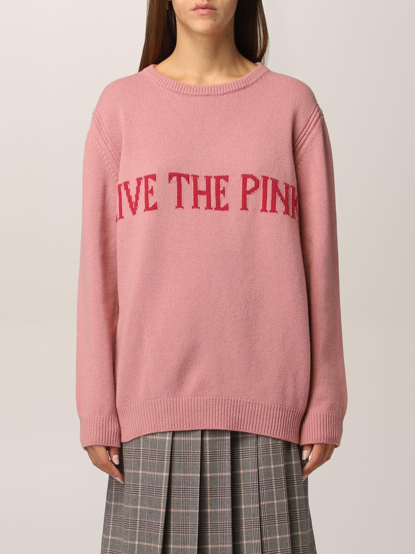 Maglione over rosa girocollo Alberta Ferretti