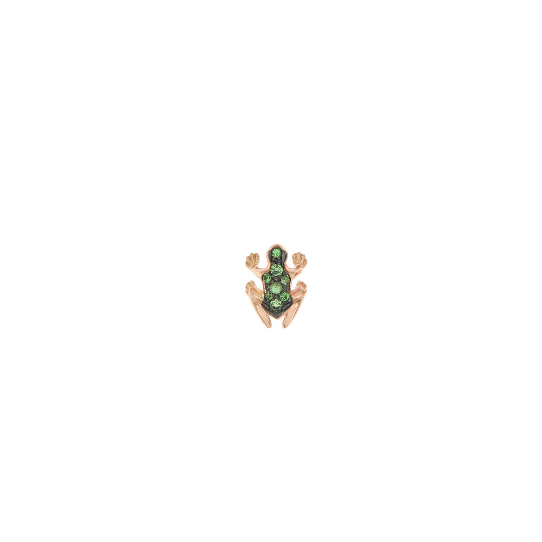 Orecchino lobo singolo in oro rosa 18k e smeraldi