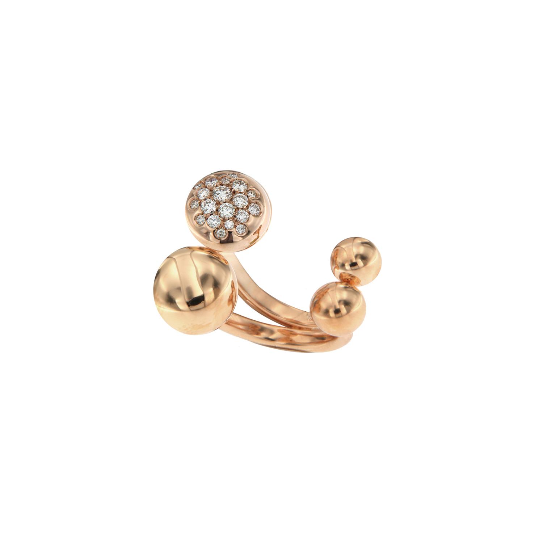 Anello doppia boule in oro rosa 18k e diamanti