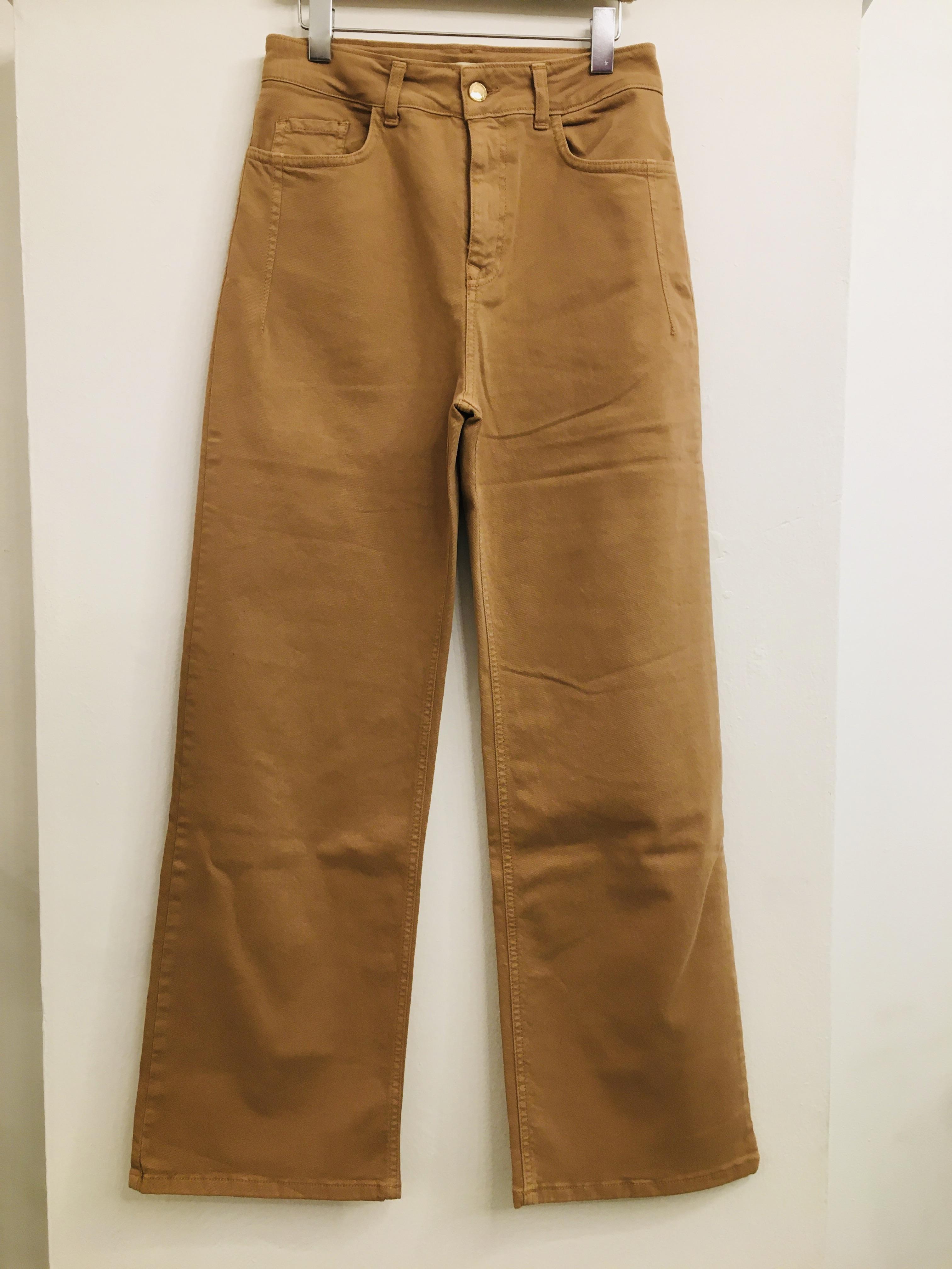 jeans donna| beige| modello palazzo| con 5 tasche| con passanti|  made in Italy